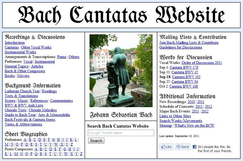 Bach Cantatas Website