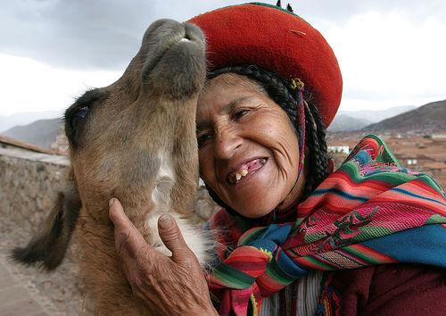 llama+woman