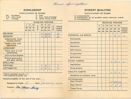 Springsteen report card