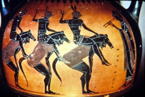 horsemen and aulos