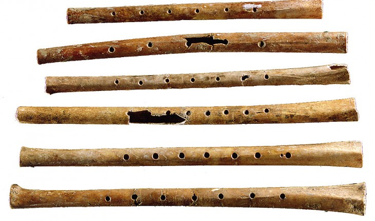 Six flutes excavated from the Jiahu site